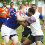 Some of the action between St. Lucia and BVI at the MPP.[Photo: Anthony De Beauville]