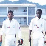 (L-R) 119 runs partnership for St.Lucia opening pair Chaz Cepal and Kimani Melius [Photo: Anthony De Beauville]