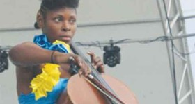 Pearl Tench performing at this year's independence celebratory rally in Vieux Fort. [Photo: Stan Bishop]