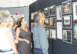 Photographs and information on display.