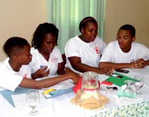 Participants engaged in one of the many group work sessions.