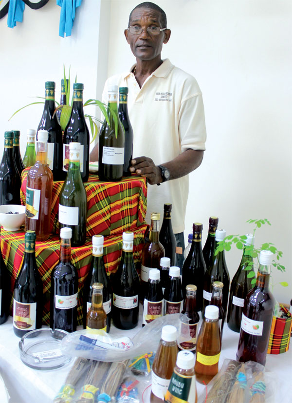 This vendor's latanier wine and mauby display went down well with patrons.