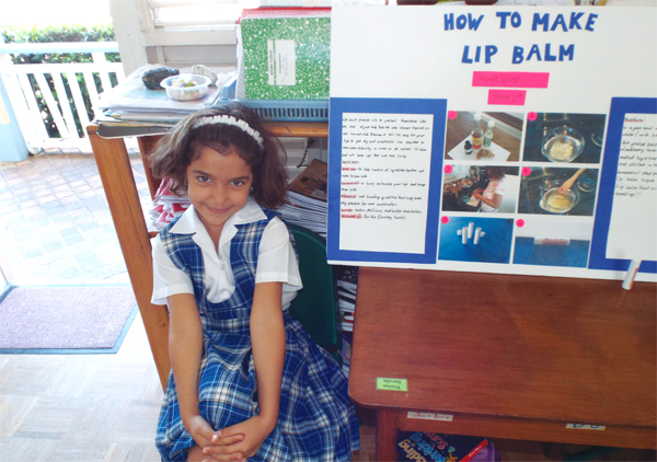 Isabelle Esper of Grade 2 experimented with the creation of lip balm.