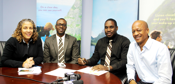 Tracey Warner-Arnold, Theophilus, Lewis and Cuthbert Didier at last Tuesday's press conference.