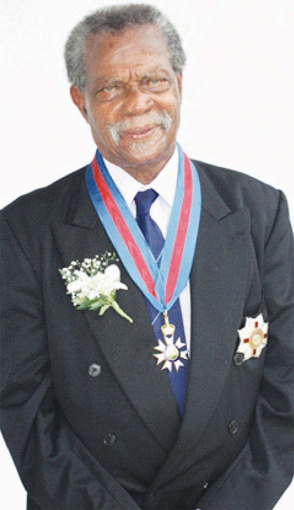 Sir Dunstan St. Omer at investiture ceremony at Government House, April 2010. [Photo: Stan Bishop]