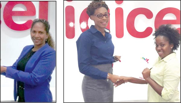 [Left] Virginia Joseph picked up the prize for Angela Dalsou. [Right] Shanella Cerville (right) collects prize for Kayla Alexander from Digicel's Louise Victor.
