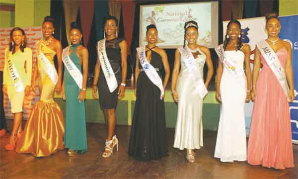 This year's eight National Carnival Queen Pageant contestants at last Tuesday's sashing ceremony at Sandals Halcyon. [Photo: Stan Bishop]
