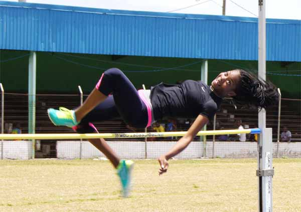 Vieux Fort Comprehensive Secondary School Chloe Edward wins the high jump event 16-17 years. (Photo: Anthony De Beauville)