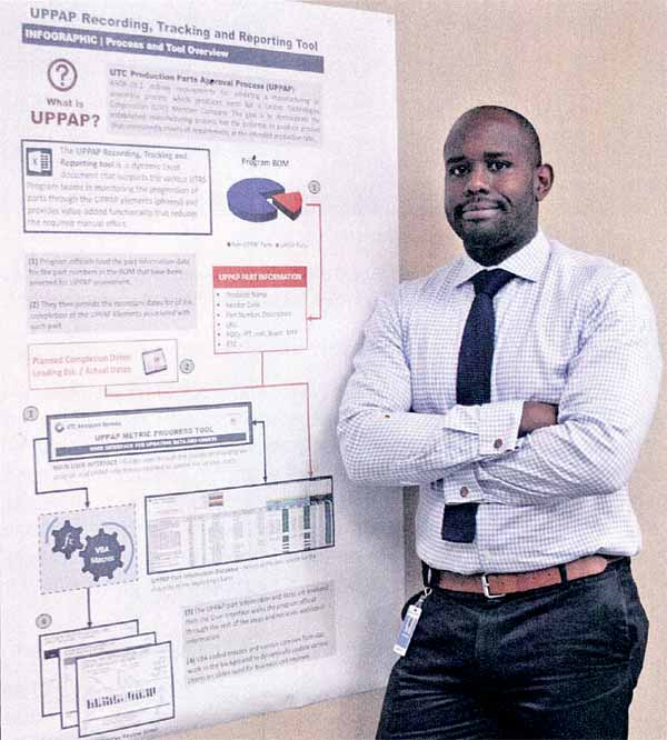 Barney Charles is pictured with an infographic detailing an innovative, labour saving tool he developed this year.