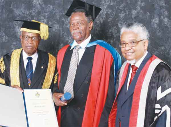 Sir Dunstan at the 2009 UWI Open Campus Graduation in Saint Lucia with Chancellor Sir George Alleyne  and former Vice-Chancellor, Professor  E. Nigel Harris