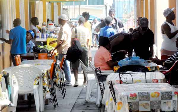 Food huts owned by the Castries City Council located within  the food court of the Castries Market,