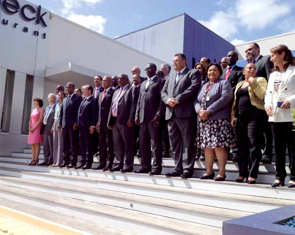 Haiti and Cuba were the next significant stops by President Francois Hollande after he met Caribbean Leaders from CARICOM, OECS and dependent territories in Martinique May 9 for a historic Caribbean Climate Change Summit that offered them a leading role in a global Climate forum he will host in Paris in December. [Photo: Earl Bousquet]