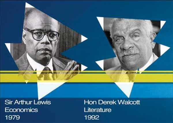 The pride of St. Mary's: Nobel Laureates Sir Arthur Lewis and Derek Walcott.