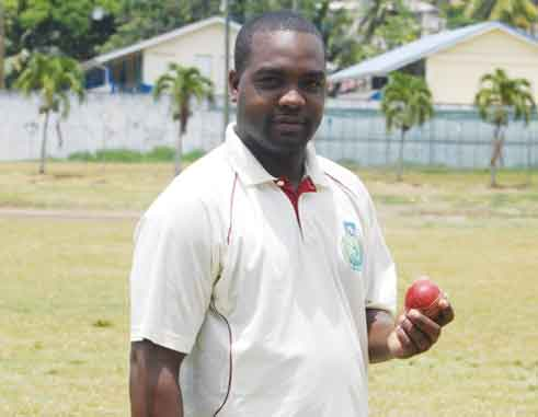 Image: v\Central Castries Alleyn Prospere scored 60 and picked up 2 wickets for 8 runs. [Photo: Anthony De Beauville]