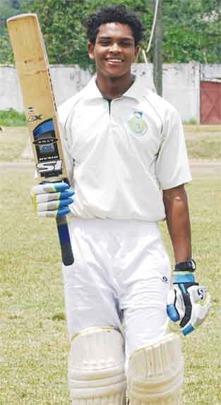 Under 19 cricketer Nick Elibox scored a well played half century for Central Castries versus Mon Repos. [Photo: Anthony De Beauville]