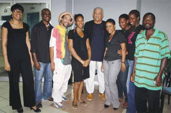 Some members of the Writers' Forum with Laureate Derek Walcott.