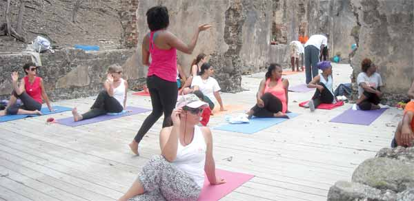 Image: Yoga session at Pigeon Island.