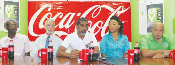 (L-R) Youth and Sports officer Ligorious Marquis CEO Du Boulay Bottling Company Dunstan Du Boulay, Vice President St. Lucia Tennis Association Trevor Hunte, LIME Marketing Representative Charlene Jn Baptiste and national Tennis Centre Manager Buzz Erlinger Forde (Photo: Anthony De Beauville)