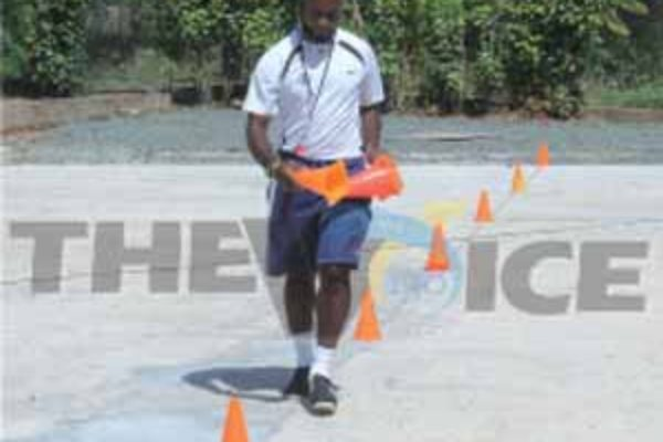 Despite the continuing work on the court Physical Education Teacher Solomon Alexander all set for a training session. [Photo: Anthony De Beauville]