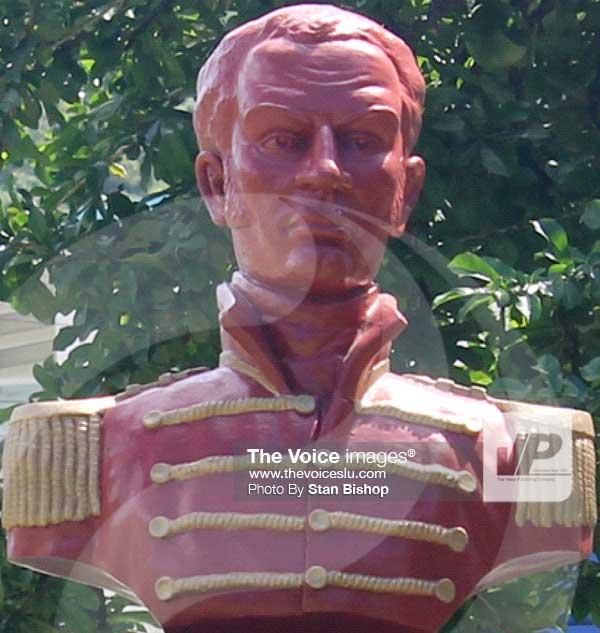 Image: A bust of Jean Baptiste Bideau.[PHOTO: Stan Bishop]
