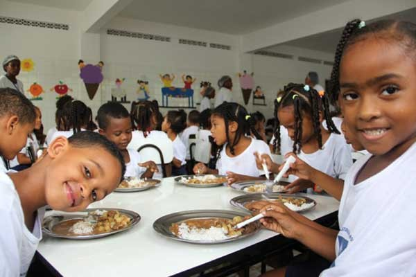 Image of children having a hot meal at school