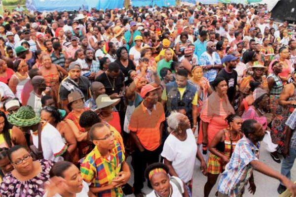 A huge crowd at Jounen Kwéyòl in Vieux Fort last year. [PHOTO: Stan Bishop]