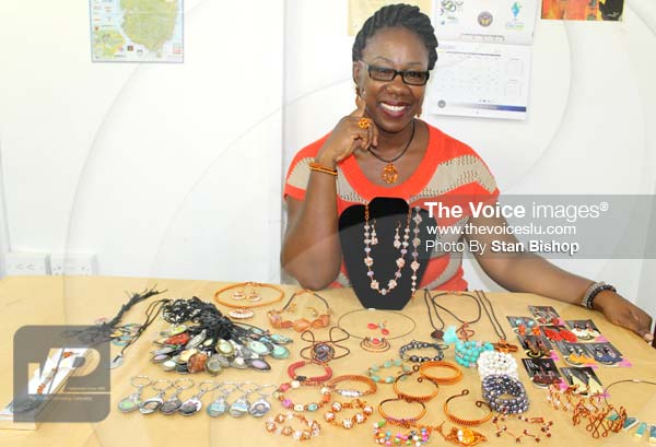Terril Nicholas displaying a wide array of her creative gems.[PHOTO: Stan Bishop]