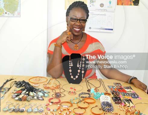 Terril Nicholas displaying a wide array of her creative gems.[PHOTO: Stan Bishop]