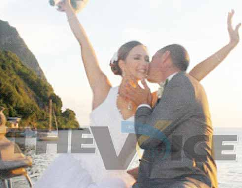 The bride and groom aboard The Pearl in Soufriere [PHOTO: Stan Bishop]