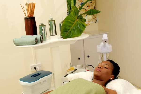 Image: A client gets the treatment at a local spa.