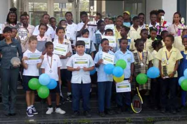 Image: A proud moment for some young and aspiring tennis players within the school system. [Photo SLNTAI]
