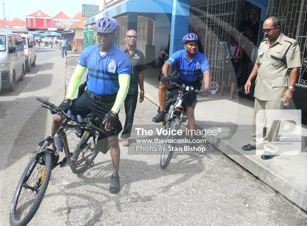 Image: Pius Raveneau, ASP Harrow and the new bicycle patrol team. [PHOTO: Stan Bishop]