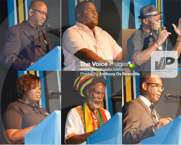 Image: (L-R) Government officials, media colleagues, national sports federations and family making their presentations on Monday evening. (Photo Anthony De Beauville)