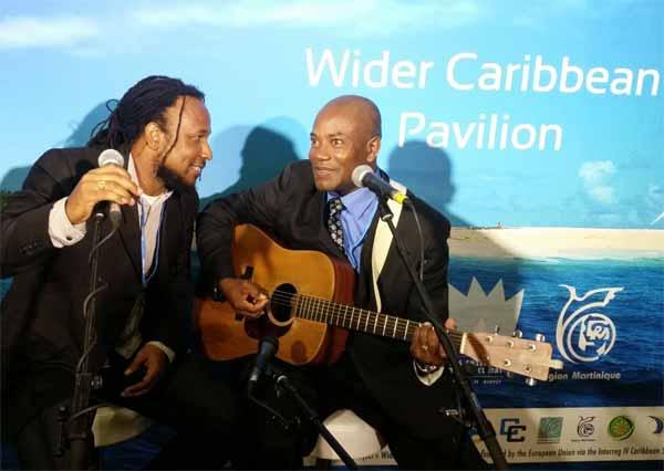 Image: Caribbean artistes perform at UN Climate talks in Paris.