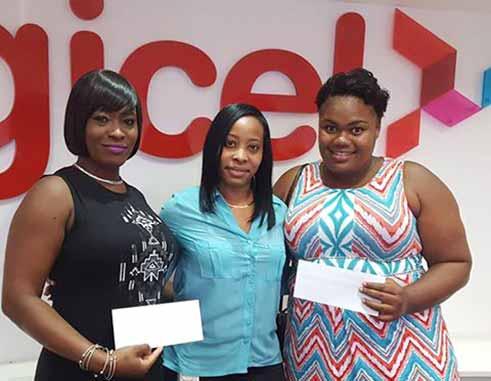 Image: Digicel's Fiona Smith with GrandeeliaGittens and Leandra Bishop.