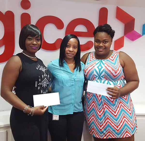 Digicel's Fiona Smith with GrandeeliaGittens and Leandra Bishop. At right: Nattalie Neptune.