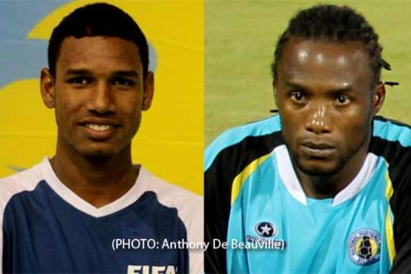 (L-R) Junior and senior footballer Rai Mariette and Sheldon Emmanuel vying for top honours (PHOTO: Anthony De Beauville)