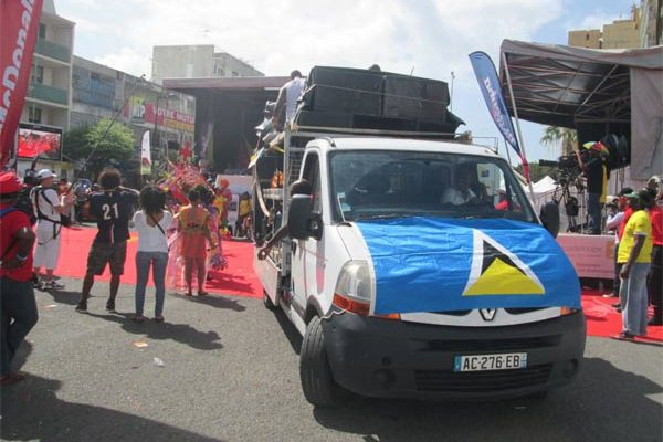 Part of the St. Lucia presence in Guadeloupe's Parade of the Bands.