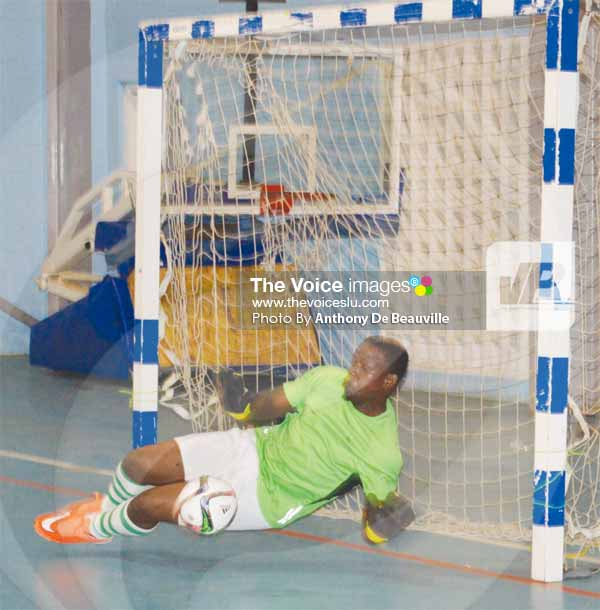 Image: Caribbean Metals Custodian Iran Cassius saves a penalty. (PHOTO: Anthony De Beauville)