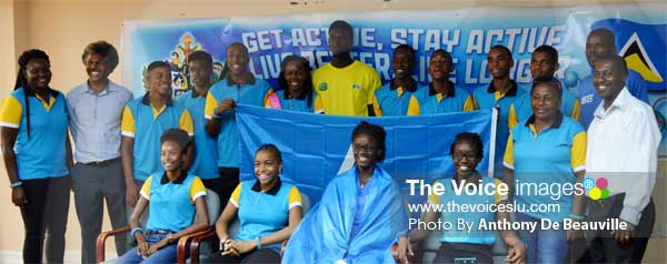 Photo moment for Team St. Lucia with Ministry of Youth Development and Sports officials. (PHOTO: Anthony De Beauville)