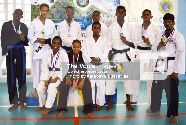 Image: Some members of team St. Lucia showing off their silver ware at the championship [PHOTO Anthony De Beauville]