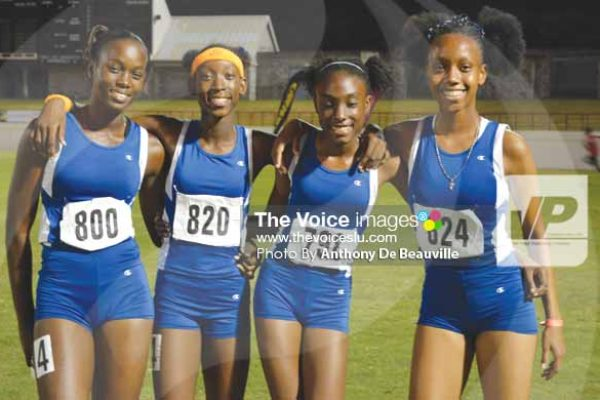 Image: St. Joseph Convent's 4x400m relay team (Photo Anthony De Beauville)