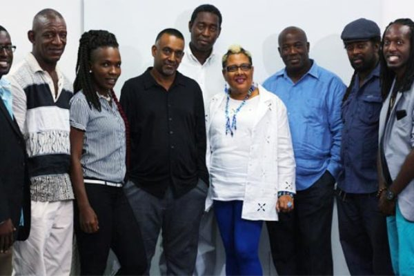 Image: Members of Interim Executive Board (L - R) Martin James, Buffalo Odlum, Melissa Moses, Ian Sanchez, Peter Simeon, Jackie Cherubin-Weekes, Dr.Kentry Jn. Pierre (Minister responsible for Creative Industries), Ziggy James and Yannick James,