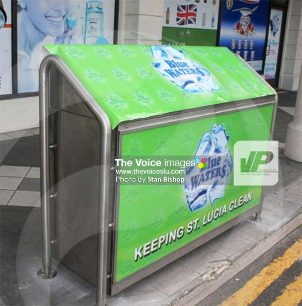Image: One of the three new bins at J.Q. Rodney Bay Shopping Mall. [PHOTO: Stan Bishop]