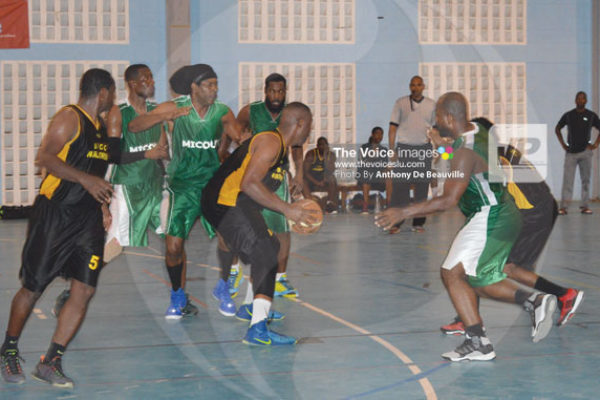 img:Some of the action between VBCC and Micoud Hustlerz on Thursday evening (Photo Anthony De Beauville)