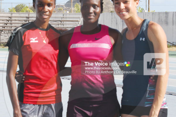 iomg: (L-R) three of St. Lucia finest female athlete on the international scene Levern Spencer, Makeba Alcide and Jeanelle Scheper will be in the thick of things (Photo Anthony De Beauville)