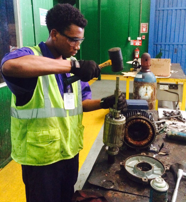img: Intern working in Engineering dept.
