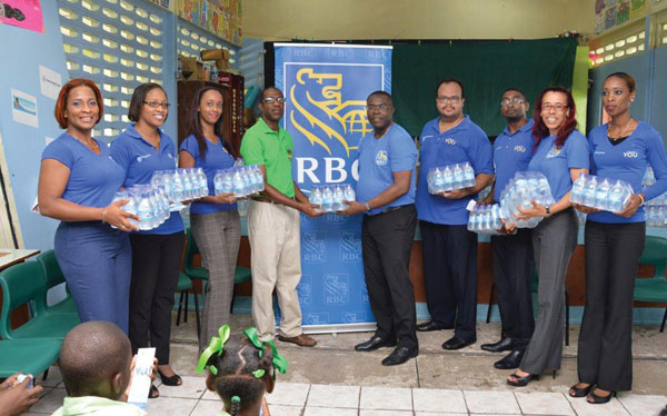 img:RBC employees with donations of water