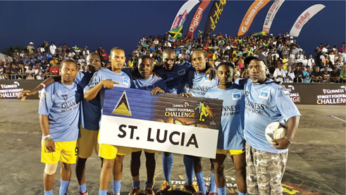 img: The St. Lucia team, champions of the Guinnes Street Football series last year.