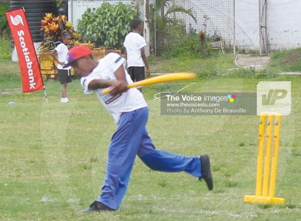 img; Smashing a ball to the boundary.